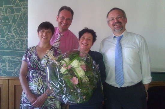 Renate Schmidt, Dr. Ralf Göck, Ministerin Katrin Altpeter und Thomas Funk MdL (vlnr)